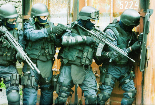 A SWAT team in action