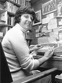 Maxine Kumin at her typewriter.