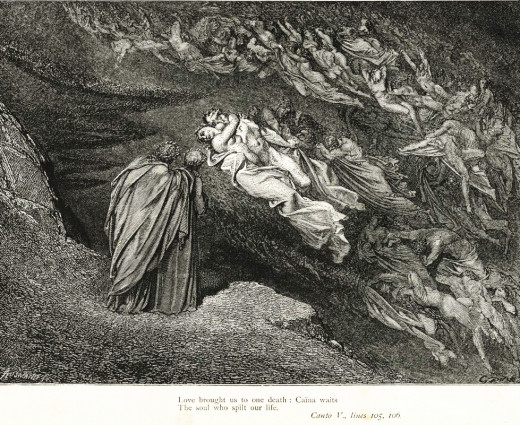 "Gustave Doré's illustration to Dante's Inferno. Plate XVI: Canto V: ""Love has conducted us unto one death; / Caina waiteth him who quenched our life"" (Longfellow translation) - Francesca di Rimini discusses her fate with Dante and Virgil."