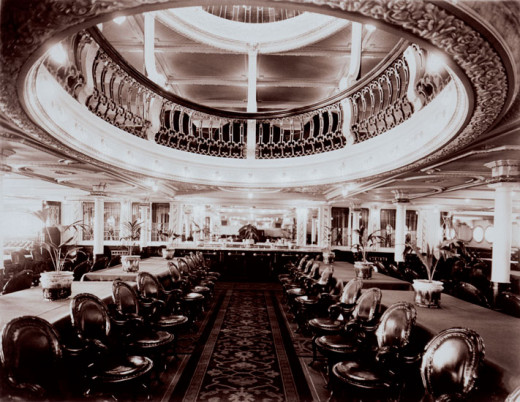 A view of the Empress of Ireland's First Class Dining Room.
