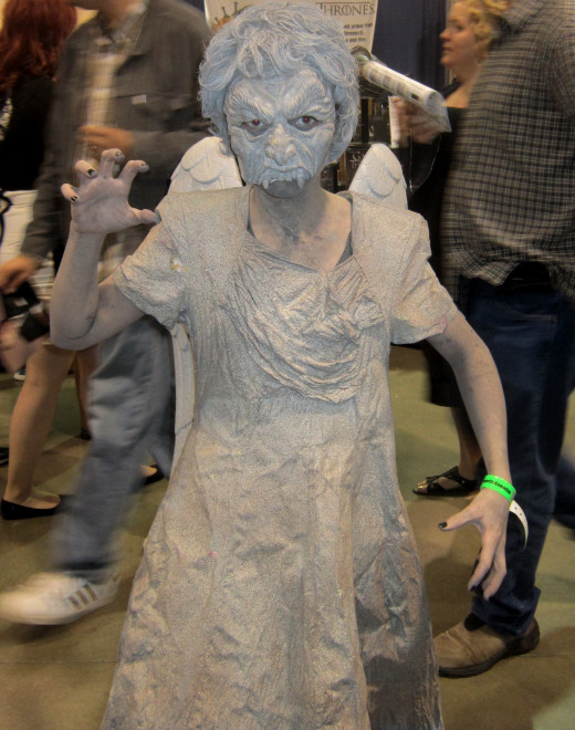 """Doctor Who/'weeping angel"""" cosplay at Motor City Comic Con."""