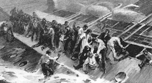 Passenger's struggle on the side of the hull as the Empress sinks.
