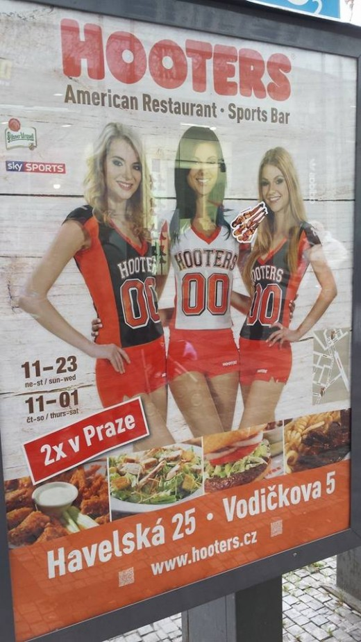 Welcome to Praha. Enjoy our unique Bohemian culture. Come to Hooters, an American Restaurant/Sports Bar. We have many fresh farm-raised Bohemian girls. Enjoy their heavenly Havels and enormous Kafkas. Czech us out!