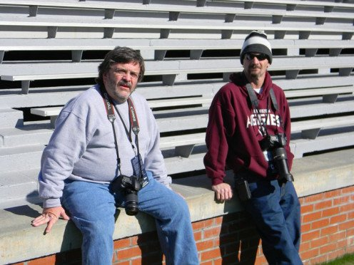 Les Walters, left, and Anthony Robbins, a freelance sportswriter for Les' paper at the Super Six High School Playoff Games played in Birmingam, AL.