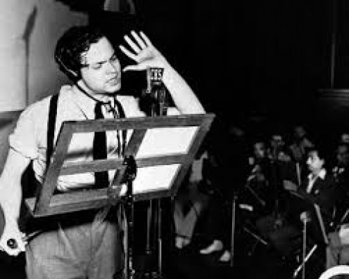 "The great Orson Wells' radio thriller:  ""War of The Worlds"" set American  to yelling,  ""Save us!"""