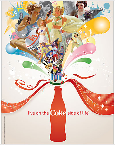 The company Coca-Cola use posters to promote their product.