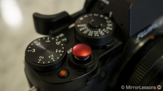 The Lolumina soft release (red version) attached to the Fujifilm X-T1