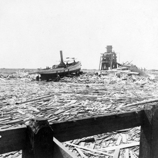 Floating wreckage, Galveston hurricane, 1900