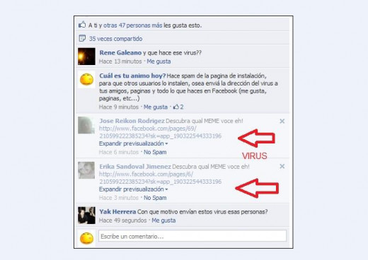 Virus spam on facebook