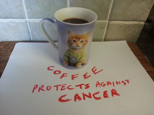 Drinking at least 4 cups of coffee a day lowers the risk of endometrial cancer by 25% (Author's own photo, copyright K. Williams, all rights reserved)