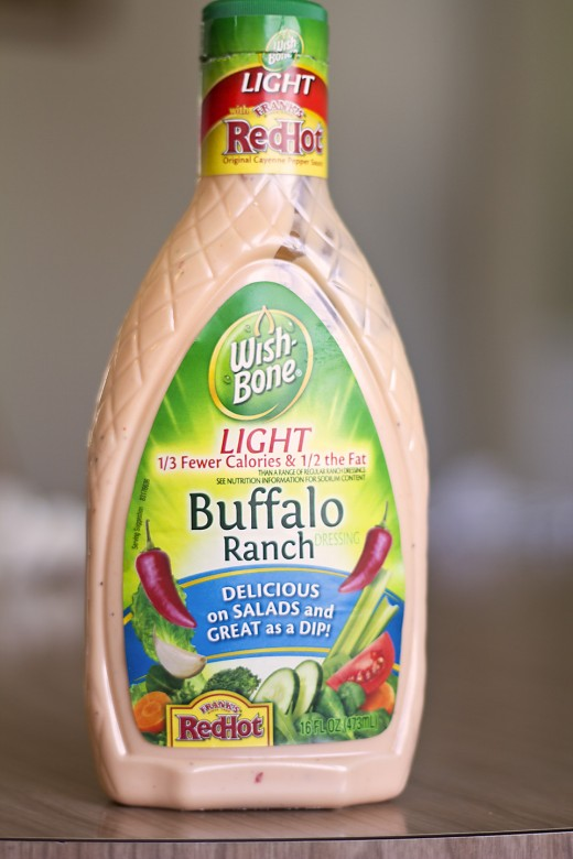 A bottle of Buffalo Ranch dressing for my sizzling chicken salad.