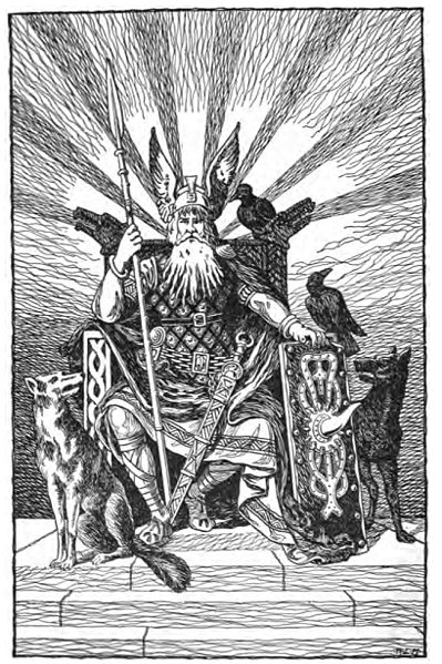 Odin (the Allfather) pictured with dogs and two ravens.