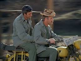 Alan Alda, left, and Farrell star in the very last minutes of the very last M*A*S*H.