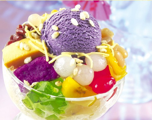 The classic Halo-Halo topped with a scoop of ice cream