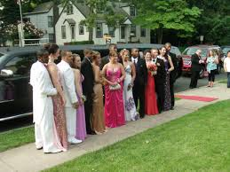 Waiting to get inside the prom.