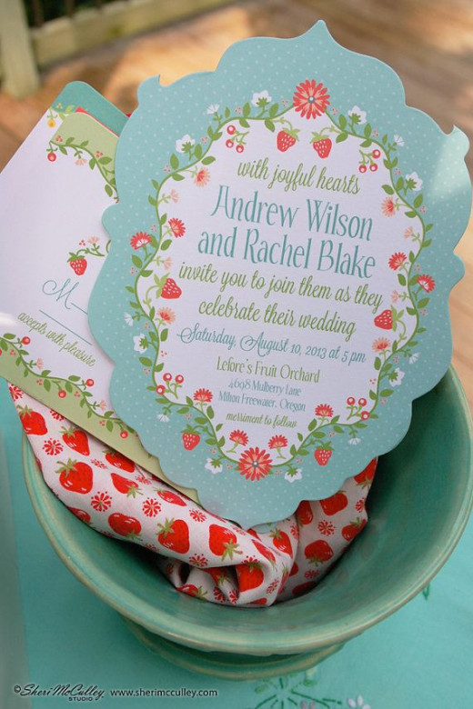 Dainty vintage strawberry frame with matching vintage fonts in a beautiful cutout invitation
