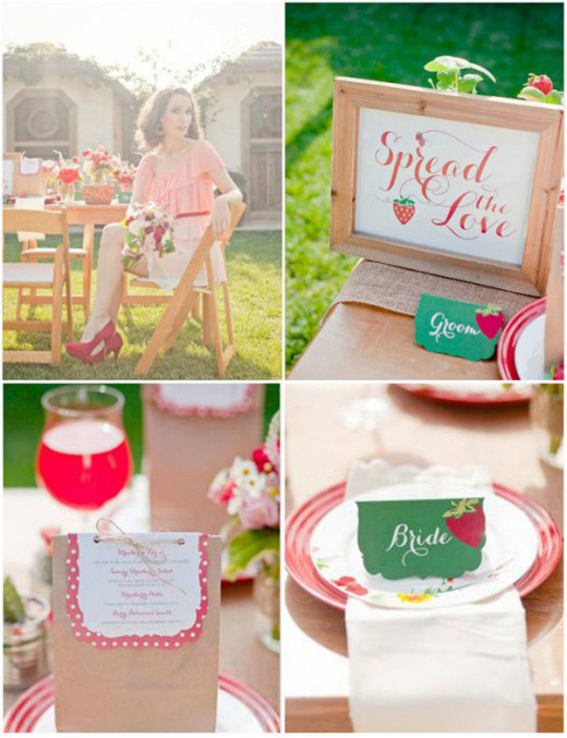 Place cards in green punctuated by a strawberry