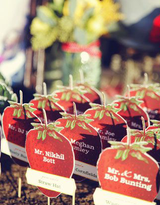 Strawberry-shaped place cards