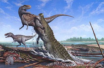 Deinosuchus, an ancestor of modern crocodilians. It was very big.