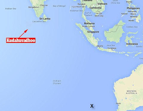 The X indicates where current searches have occurred. Far away from the Maldives.