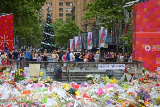 Martin Place decked out for Christmas, and also as Homage to the fallen hostages.