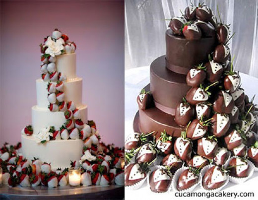In lieu of flowers, used strawberries to create a cascading decoration on your wedding cake.