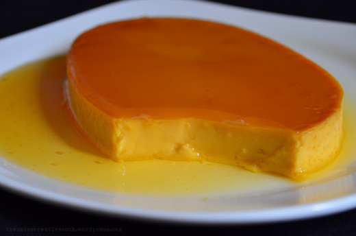 Leche Flan is made with eggs, milk, and sugar.