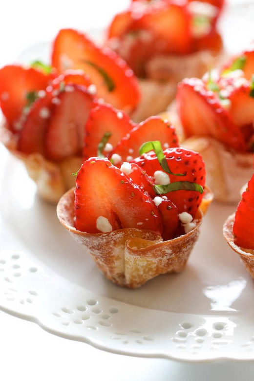 Strawberries in wonton cups. Crisp and sweet.