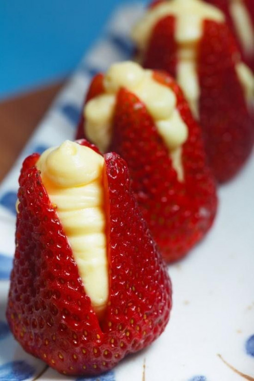 Cream-cheese filled strawberries. Simple but divine.
