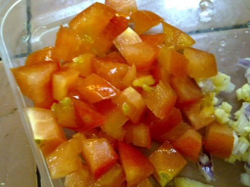 cubes of fresh tomato, remove the seeds and pulps