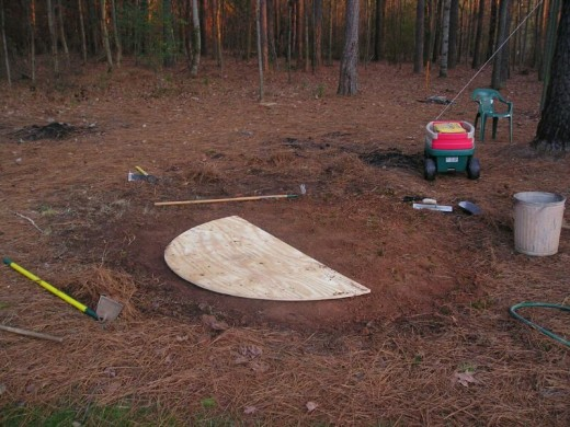 In a dull corner of my backyard, near a former burn spot by the wagon with the concrete bag, I set out a piece of plywood that I had marked with a pencil on the edge of a string and cut into a circular shape