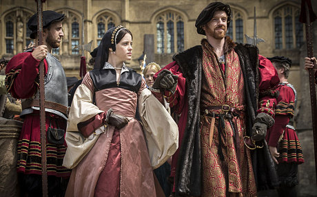 Claire Foy as Anne Boleyn and Damian Lewis as Henry VIII in PBS's Wolf Hall.