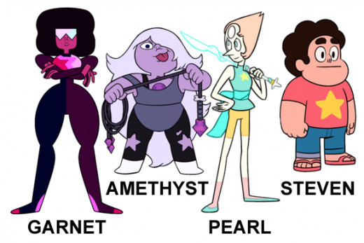 Garnet, Amethyst and Pearl and Steven!