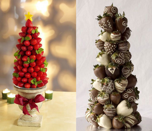 Strawberry tower using bare strawberries and punctuated with leaves, and chocolate-coated strawberries