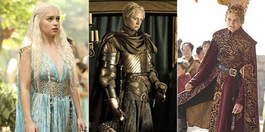 Impeccable wardrobe choices for Daenerys, Brienne of Tarth and King Joffrey.