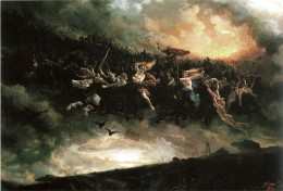 """A painting of a """"Wild Hunt""""; perhaps what the Wild Hunt looks like with the Welsh Celtic God Arawn riding in it."""