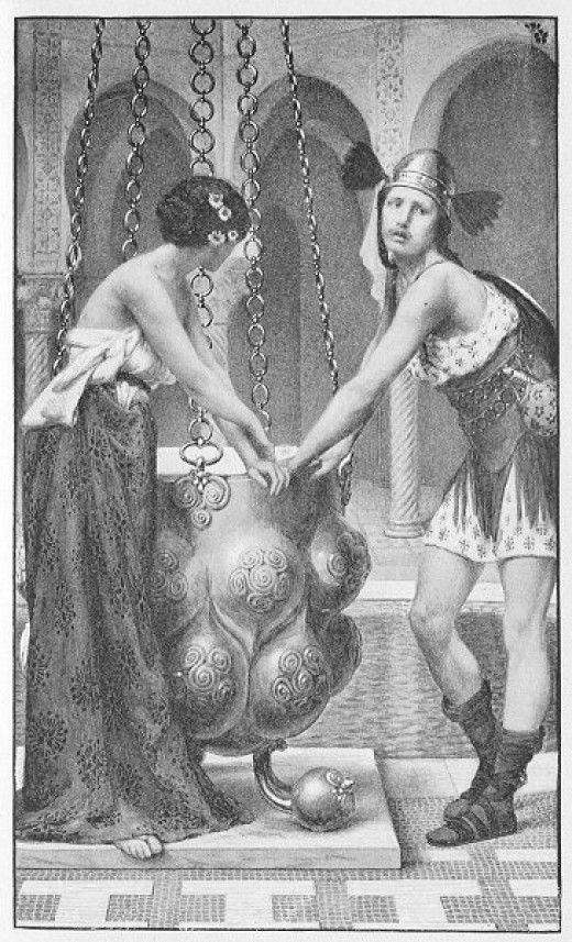 Artwork depicting the Welsh Celtic Goddess Rhiannon and Pryderi being imprisoned.