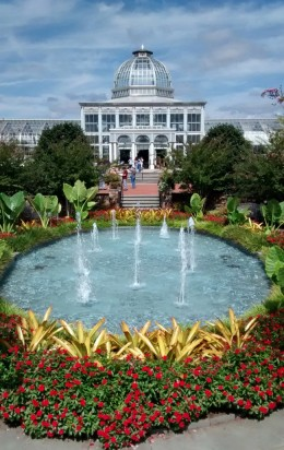 Look up from The Fountain Garden to see the beckoning Conservatory.