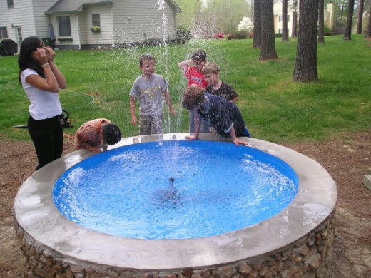To date, the only truly heroic moment of my existence: the grand opening of my backyard fountain in April of 2007.