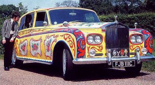 John Lennon with his Rolls Royce Phantom V