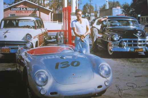 James Dean and his Spyder, taken the day of his fatal accident.