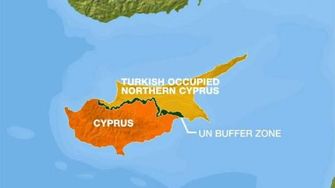 Cyprus divided between the southern Greek side and the northern Turkish side