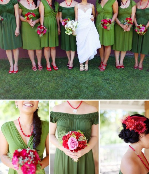 Instead of using red or pink as the main color, use green. The strawberry shades can become the accent color, and resulting colors will still be appropriately strawberry!
