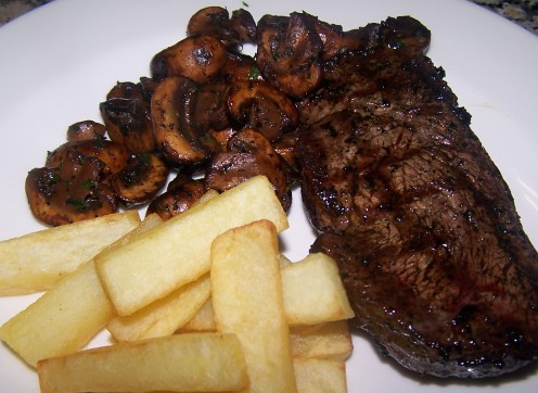 BBQ Steak, Garlic Mushrooms and Chips (My Favorite)