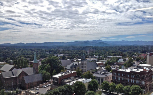 Downtown Asheville, looking west