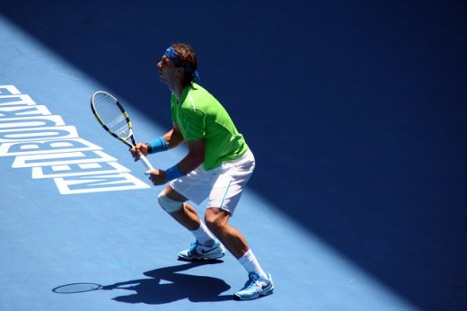 Rafael Nadal at the Australian Open in 2012.  Generally seen as the finest clay court player of all time, the Spanish tennis player has won many titles, including 14 Grand Slam singles titles, and the 2008 Olympic gold medal in singles.