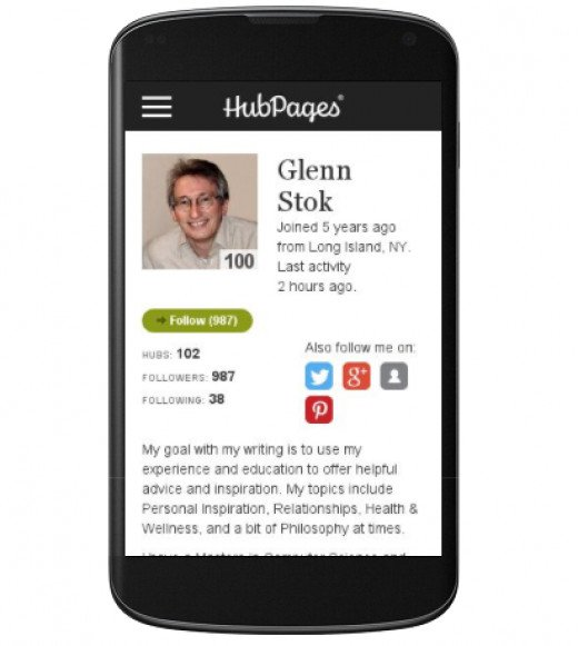 My HubPages Profile as displayed on a Mobile Device.