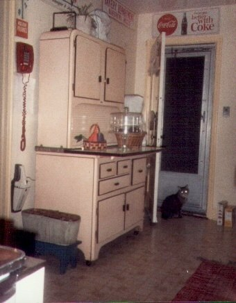 This was my kitchen when I lived in Baltimore. The Hoosier cabinet and vintage bread signs made of metal were great accessories for my Hall China collection.