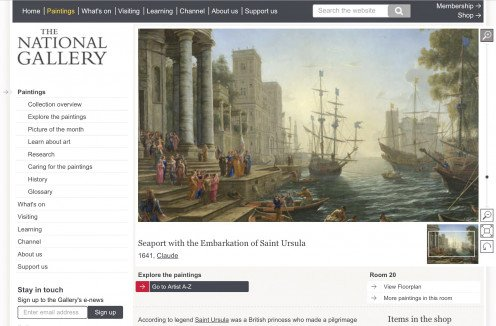 "Screenshot of the National Gallery website showing ""Seaport with the Embarkation of Saint Ursula"" by Claude"
