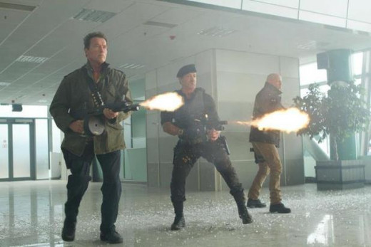 Arnold Schwarzenegger, Sylvester Stallone, and Bruce Willis in The Expendables 2